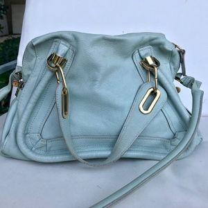 Chloé Paraty Sky Blue Calfskin Leather Bag